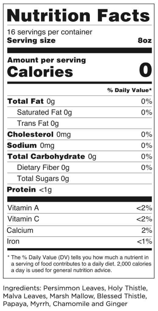 Iaso detox tea nutrition label and ingredients