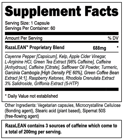 RazaLean Supplement Facts